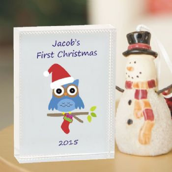 Owl 1st Christmas Crystal - Personalised Baby's First Christmas Keepsake Gift